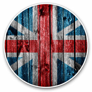 2-x-Vinyl-Stickers-7-5cm-Wooden-Effect-Union-Jack-UK-Flag-Cool-Gift-8312