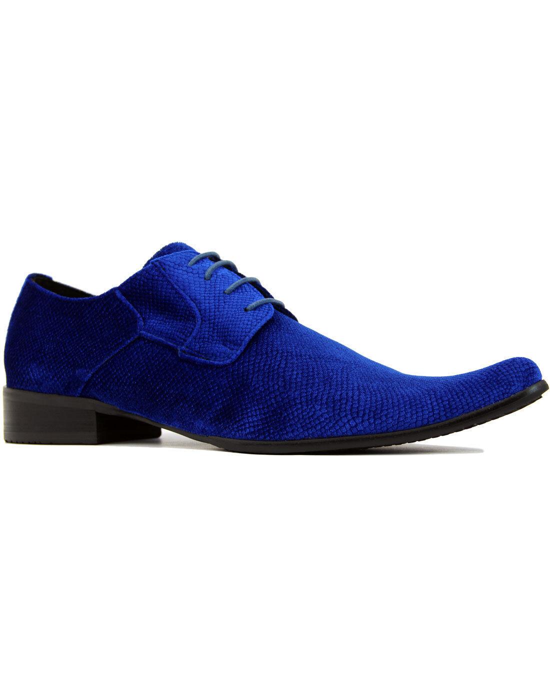 NEW VELVET WINKLEPICKER SHOES MADCAP ENGLAND MENS SNAKESKIN Velvet Shoes BLUE