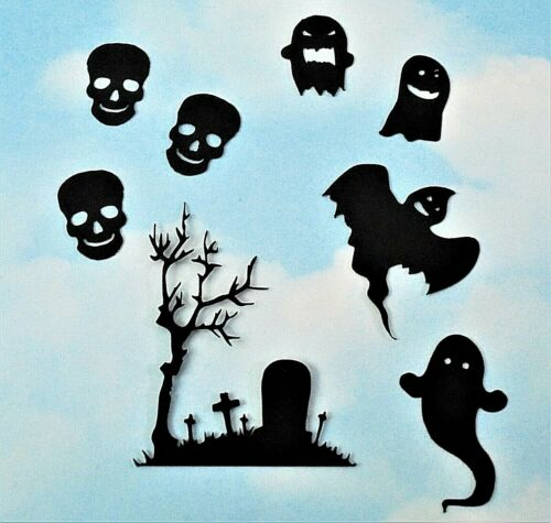 silhouette witch haunted house skull bat Die Cut Halloween mix x 20 black