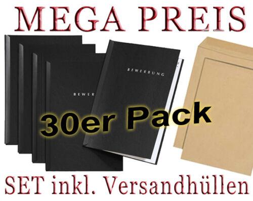 30 Umschläge 30 schwarze Bewerbungsmappen von PAGNA Typ START 2-teilig inkl