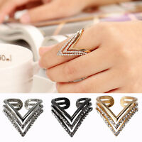 Punk Lady Triangle Geometric Open Crystal Rhinestone Finger Ring Adjustable Band