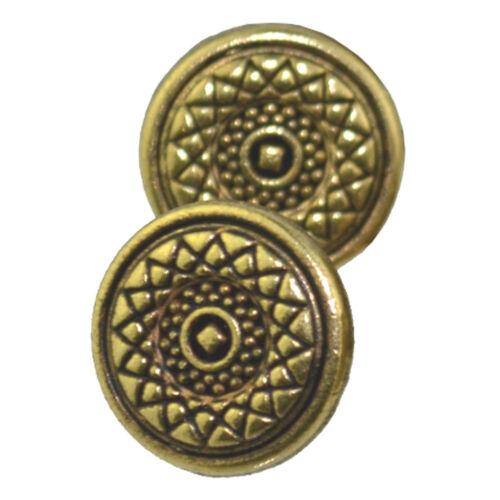 Metal Oro Antiguo Texturados Diseño Geométrico Plana Shank Botones Tamaño 18l 11,5 Mm