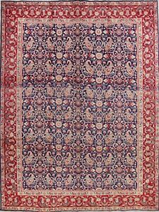 Paisley-Navy-Blue-Geometric-Persian-Oriental-Hand-Knotted-10x13-Wool-Area-Rug