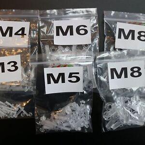 100-x-Acrilico-Bulloni-e-Dadi-M3-M8-x-20mm-in-Plastica-Trasparente-Acrilico-Viti