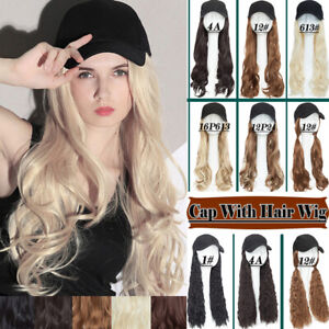 Baseball-Cap-Hat-Hair-Extensions-Long-Wavy-Full-Head-Caps-With-Hairpieces-Blonde
