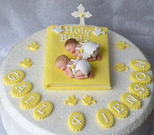 Details About Edible Twin Baby Christening Baptism Cake Topper Bible Cake Decoration Topper