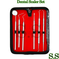 Dental Scaler Pick Stainless Steel Tools With Inspection Mirror Set 6 Pcs Pr 255
