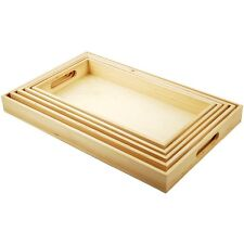 5 Wooden Trays with Handles. Breakfast Dinner Lunch Food Bed Serving Set Kitchen