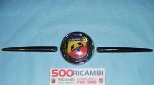 FIAT-500-F-L-R-126-MASCHERINA-STEMMA-LOGO-ABARTH-FREGIO-ANTERIORE-3-PEZZI-NUOVA