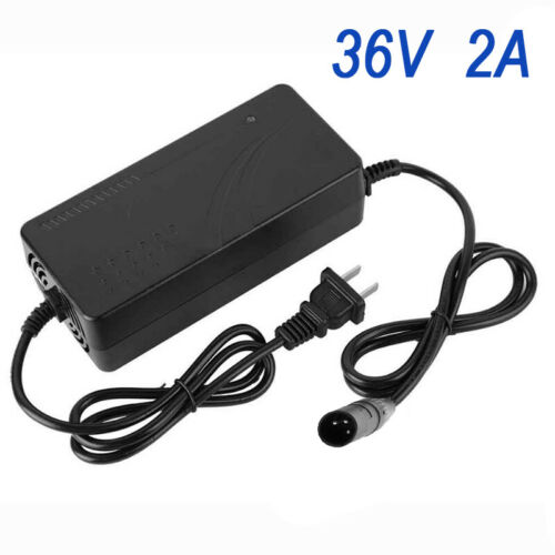 36//48V 2A Lithium Battery Smart Charger Plug For Electric Bicycle Bike Li-Ion