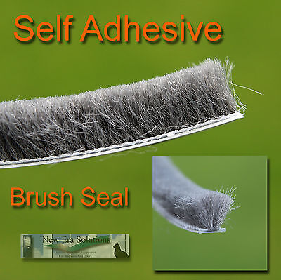 Grey Self Adhesive Brush Pile Seal Windows Doors Draught Excluder Deep 12mm Pile
