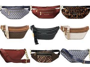 Michael Kors Mott Belt Waist Bag Shoulder Fanny Pack Blue MK Siganture Leopard