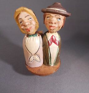 Vintage Hand Carved Painted Wooden Couple Mechanical Wine/Bottle Cork Stopper.