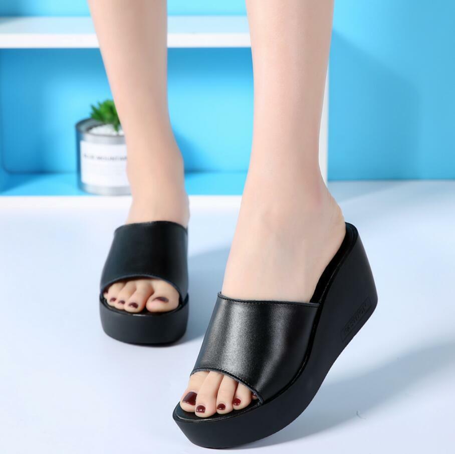 Women Slide Slipper Wedge High Heel Platform Sandals shoes Flip Flops Mules New