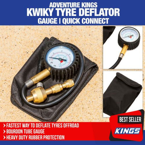 Adventure Kings Kwiky Tyre Deflator Gauge Quick Connect Air Valve