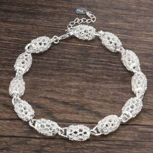 Hollow-Gorgeous-Women-039-s-925-Silver-Chain-Bangle-Bracelet-Wedding-Jewelry-Gift