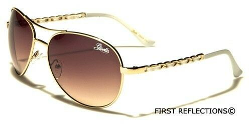 Giselle Fashion Aviator Sunglasses Retro Chain Link Round Women Designer Glasses