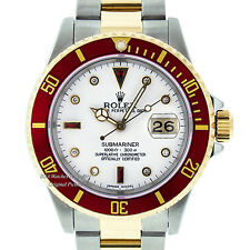 MENS ROLEX SUBMARINER DATE 18K YELLOW GOLD & SS WATCH WHITE DIAMOND RED 16613