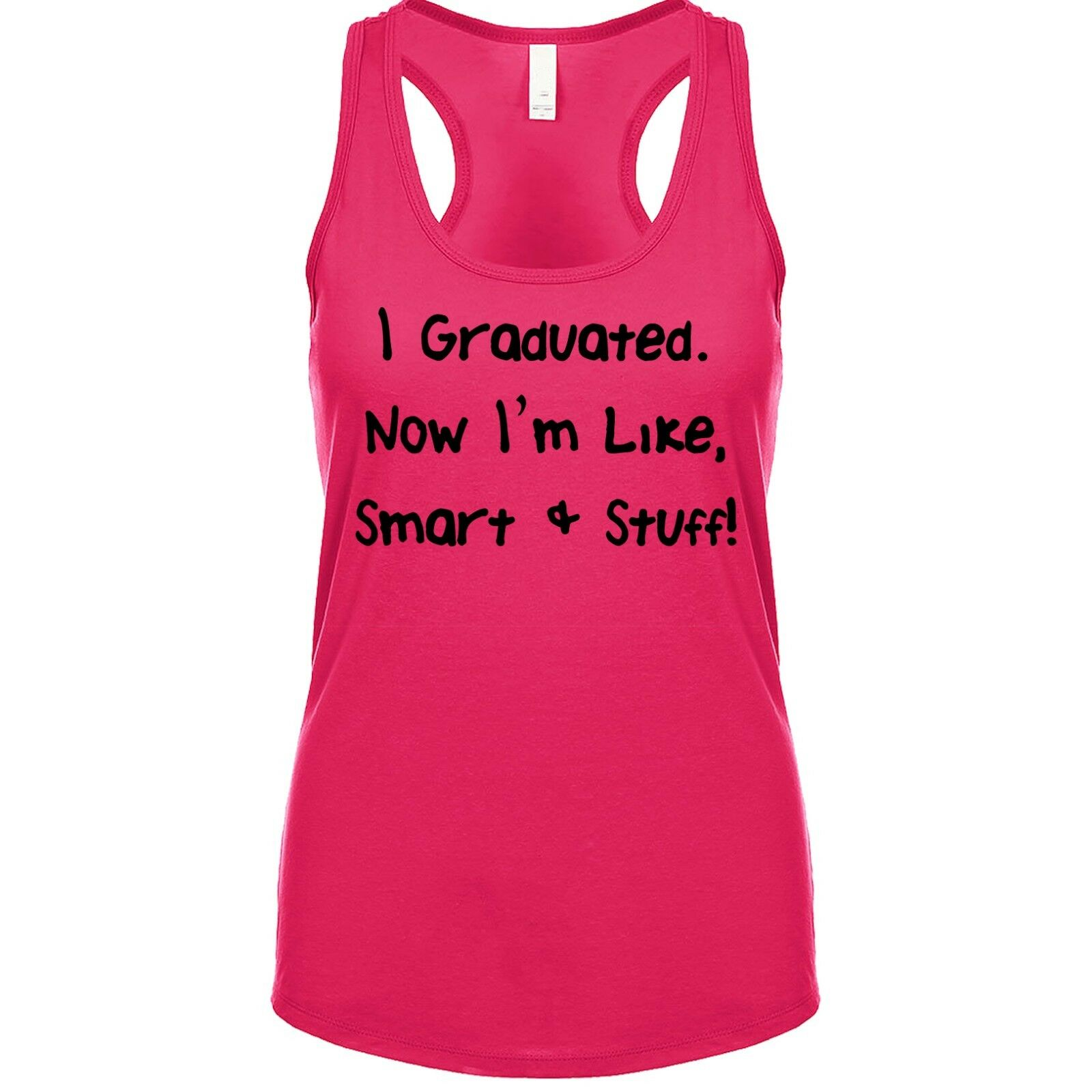 I GRADUATED ~ GREAT GRADUATION GIFT~BLACK T-SHIRT with PINK GLITTER SIZE S-XXL