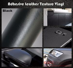 20x152cm Black Leather Texture Adhesive Vinyl Wrap Film