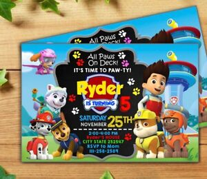 Image Is Loading Custom Paw Patrol Birthday Invitation 24 PRINTED W
