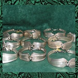 2-Handcrafted-Silverplate-Silverware-Spoon-Bracelet-Lot-of-2-My-Choice-Designs