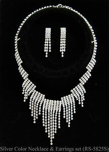 Women Bling Crystal Necklace Earring Plated Jewelry Set Wedding Bridal Silver