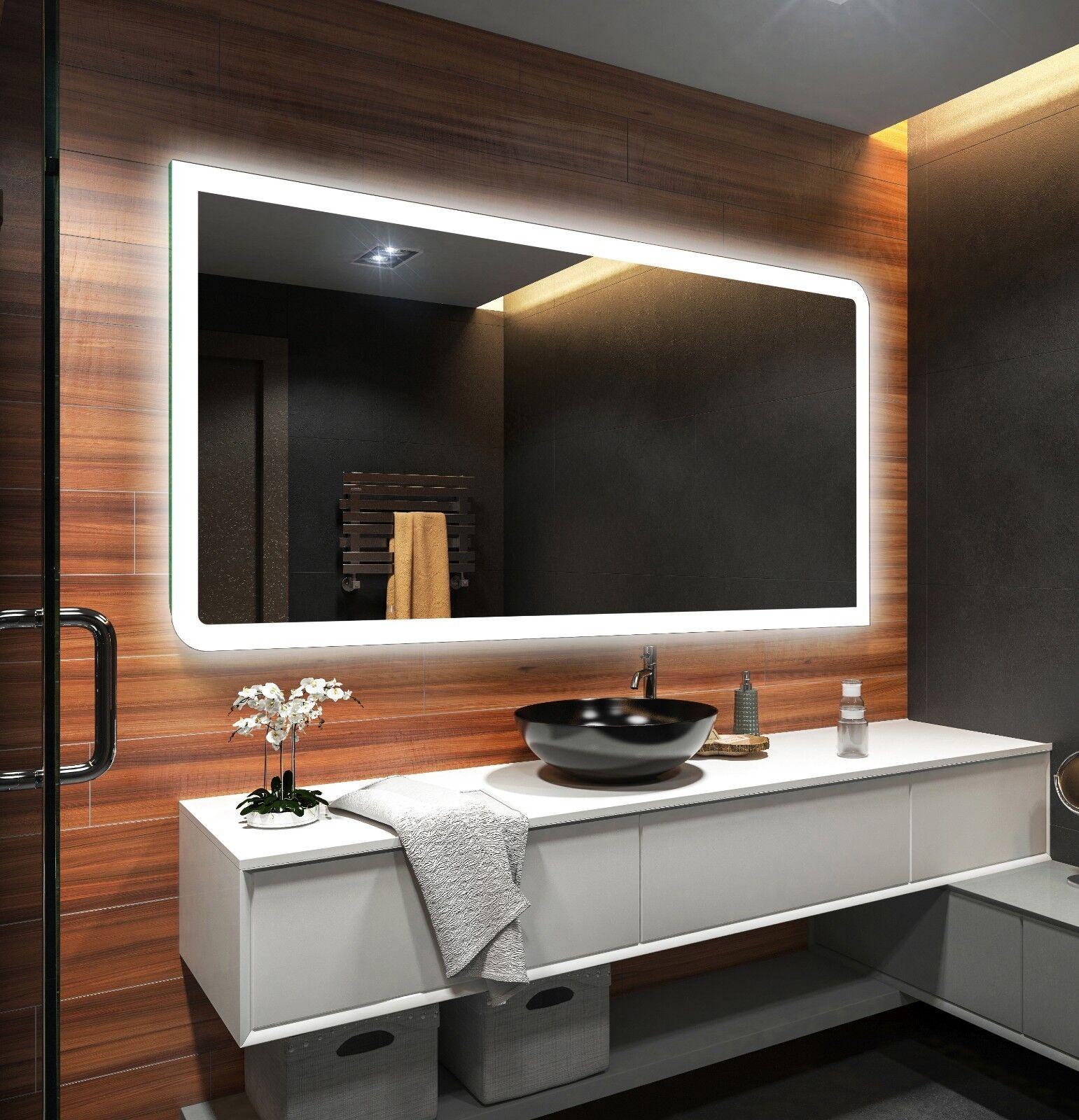 Espejo de baño moderno e iluminado, fabricado a medida con marco luminoso LED 80