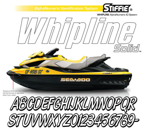 Stiffie Whipline Solid WLS05 Yellow Purp Boat Numbers Decal Registration Sticker