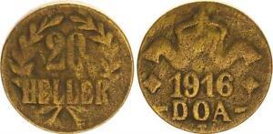 German East Africa 20 Heller J.725 B Brass S-Ss 50585