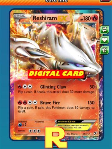 Digital PTCGO in game card For Pokemon TCG Online Reshiram EX-Regular Art