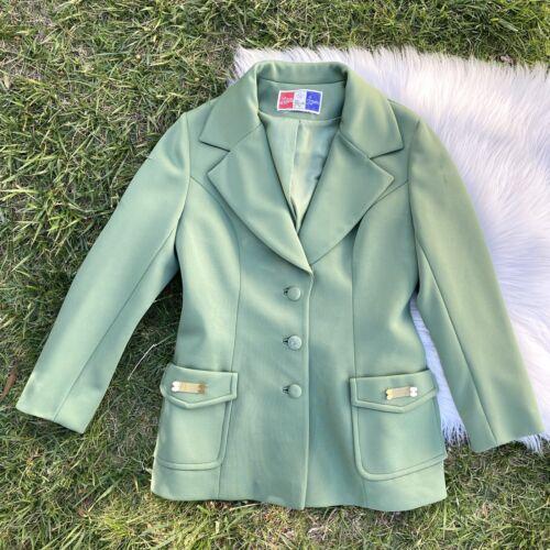 Vtg 60's LILLI ANN KNIT Green Jacket Blazer Medium