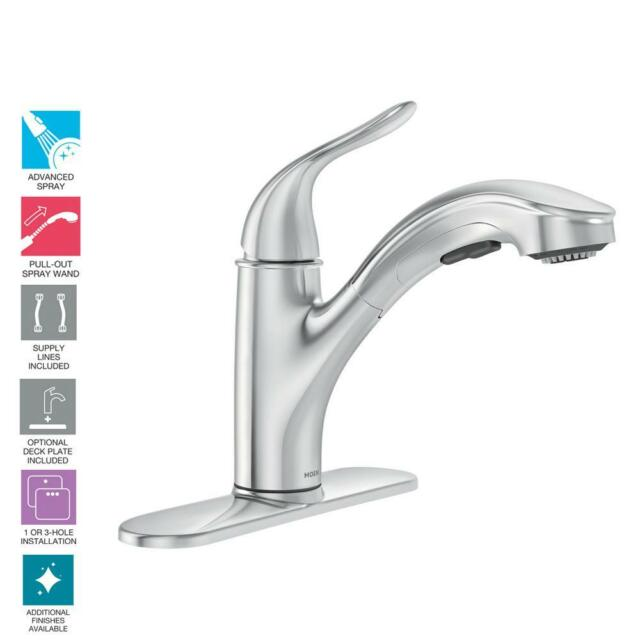 Moen Brecklyn 1handle Pull Out Sprayer Kitchen Faucet With Power
