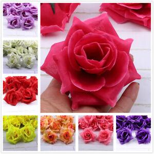 Large-15-Color-8cm-12-22Pcs-Artificial-Silk-Big-Rose-Flower-Heads-Bulk-DIY-Craft