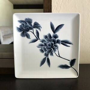 Apilco-France-Square-Plate-Floral-8-034-Display-Porcelain-Serving-Dish-White-Blue