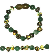 BALTIC AMBER BRACELET / ANKLET WITH AFRICAN JADE BEADS, SCREW CLASP, 14 CM