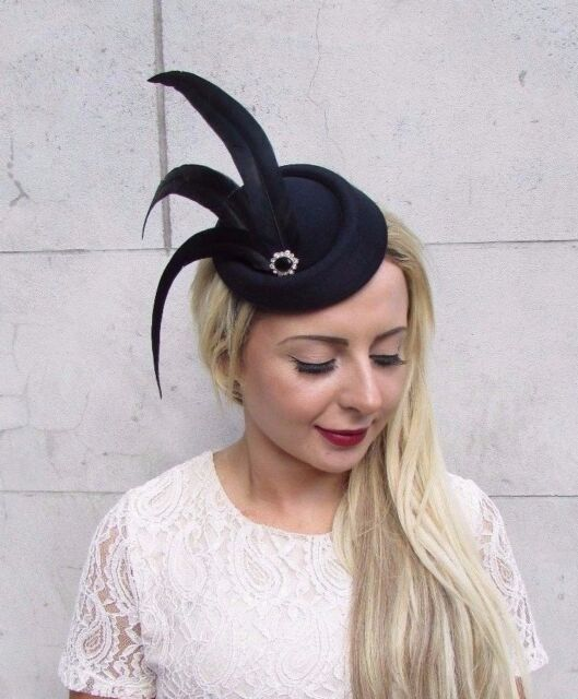 Black Statement Feather Pillbox Hat Hair Fascinator Races Vintage Headpiece  3762 45ee22232bc