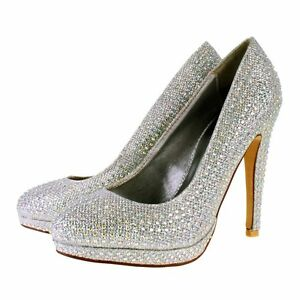 New TRUFFLE Silver Diamante Sparkly High Heel Bridal Party Prom ...