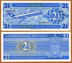 Netherlands-Antilles-2-1-2-Gulden-1970-P-21-UNC-Airplane
