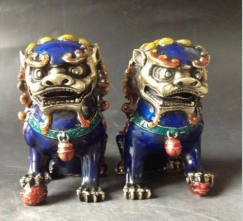 A Pair Exquisite Chinese Old Cloisonne Copper Statue Lion Foo Dog statue