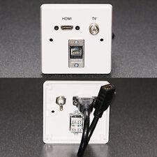 AV Wall Plate, HDMI v1.4 Audio Video / TV RF Aerial / Cat.6 RJ45 Network Sockets
