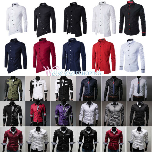 Slim Fit Shirts Long Sleeve Stylish Formal Business Button Down Cotton Dress Top