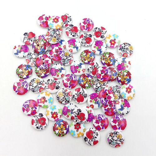 Cn/_100pz Fiore Colorato 2 Fori Bottoni in Legno Fai da Te Cucito Scrapbook Arte