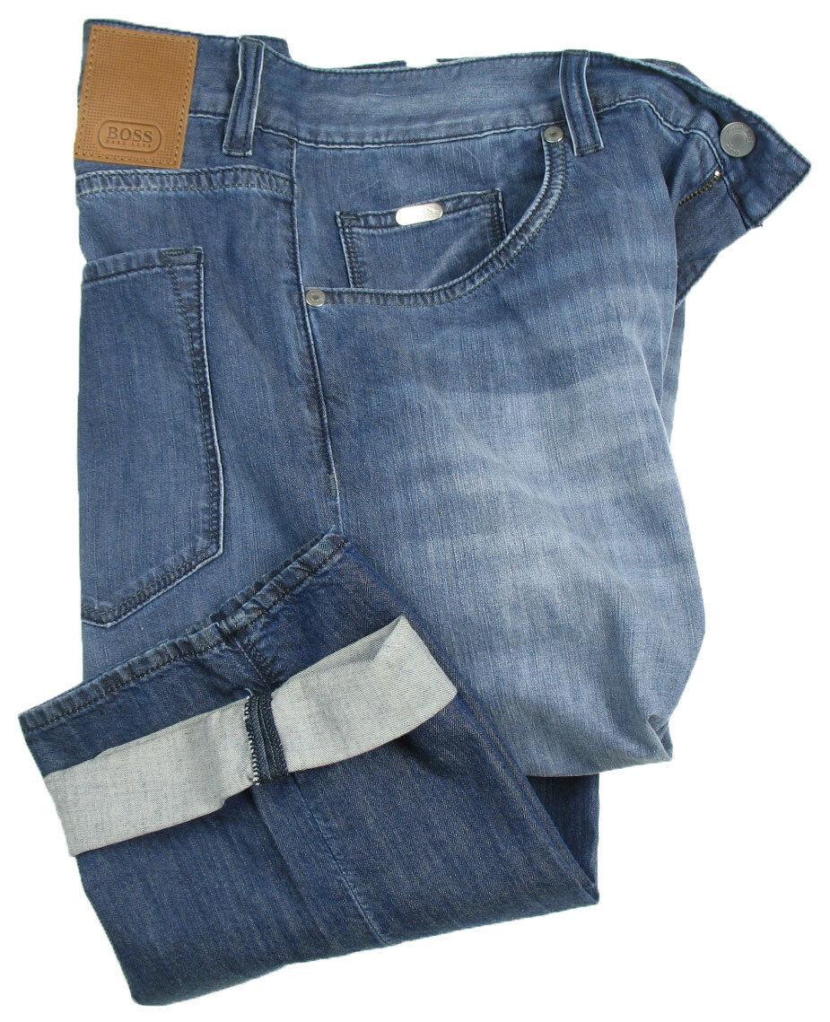 BOSS Grün Sommer-Jeans   Maine W33 L34 ( Ragular Fit ) Blau treated superleicht