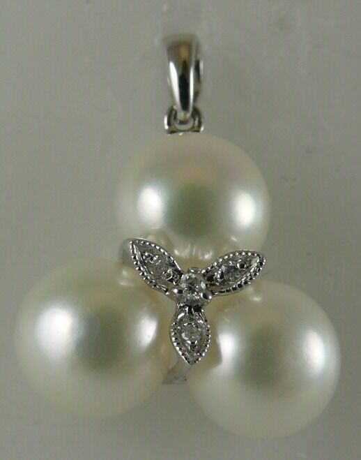 Freshwater Pearl 8mm Pendant 14k White gold & Diamonds 0.02ct