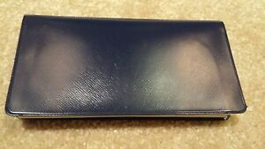 navy vinyl checkbook holder duplicate flap cover top tear check