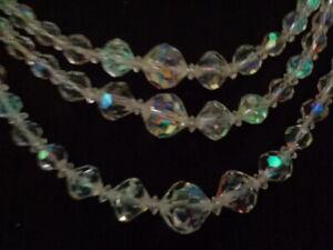 VINTAGE-50-S-AURORA-BOREALIS-CRYSTAL-GLASS-BEAD-MULTI-3-STRAND-NECKLACE