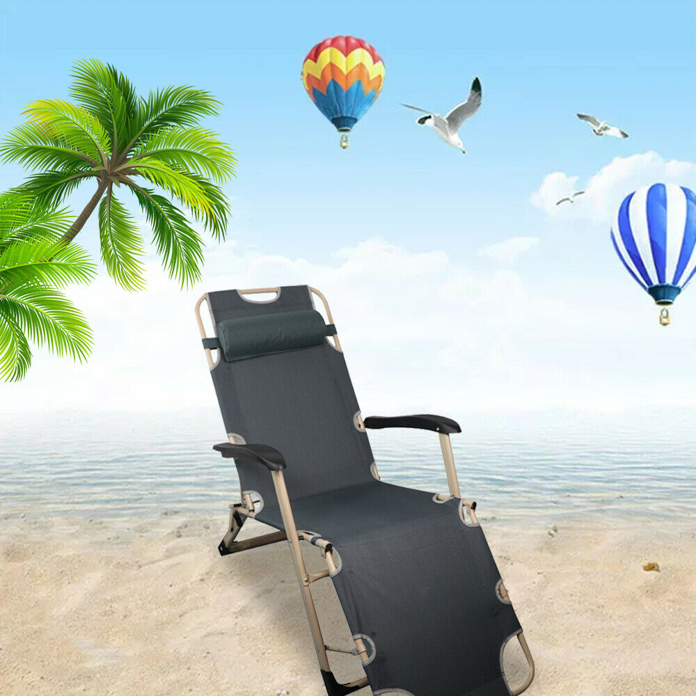 RICA-J Lounge Chair Recliner Folding Outdoor Patio Lounge Chairs Beach Sun Pool Lawn Chaise for Outdoor Camping Patio Lawn Blue