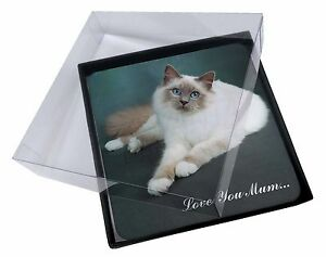4x-Birman-Cat-039-Love-You-Mum-039-Picture-Table-Coasters-Set-in-Gift-Box-Mum-C3C