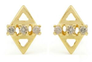 0.10 ct Natural Pave Diamond 8x6 MM 14K 18K Solid Gold Stud Earrings